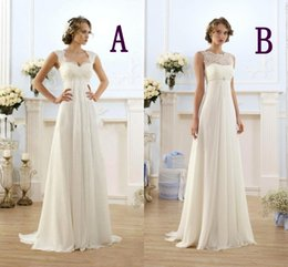 New Summer Bohemian Wedding Dresses Cheap Maternity Gown Cap Sleeve Keyhole Lace Up Backless Chiffon Summer Beach Pregnant Bridal Gowns