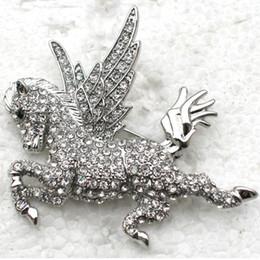 12pcs lot Wholesale Crystals Rhinestone Angel Horse Pin Brooches C563