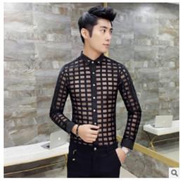 Wholesale-2015 Summer Fitnes Plaid Shirts Mens Transparent Shirt Black White See Through Dress Shirts Trendy Club Checkered Camisas Hombre