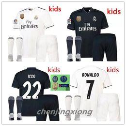 AAA+kids kits Real Madrid soccer jersey 2018 2019 RONALDO MORATA MARCELO SERGIO RAMOS KROOS BENZEMA ISCO SUAREZ kits+ socks Football jerseys