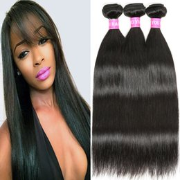 7A Brazilian Straight Virgin Hair Remy Human Hair Weave 3 or 4 Bundles Weft Sew in Hair Extensions Unprocessed 1B# Natural Black Wholesale