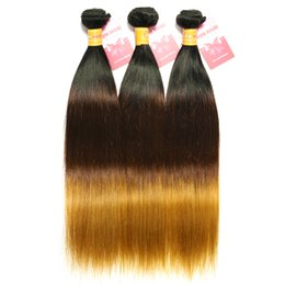 8A Ombre Brazilian Straight Hair Weave 3 or 4 Bundles Brazilian Virgin Ombre Human Hair Extensions 3 Tone 1b 4 27 Blonde Color