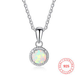 jewelry factory China 925 sterling silver small order high quality silver charm round design imitation opal necklace China wholesale