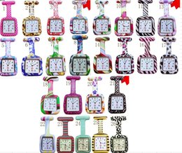 Wholesale 100pcs lot 26colors Square Colorful Prints Silicone Nurse watch Pocket Watches Doctor Fob Quartz Watch Kids Gift Watches NW014