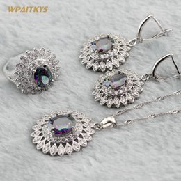 Rainbow Women's Wedding Jewelry Sets - Wholesale Flower Silver Plated Pendant Necklace Drop Earrings Ring For Bride Ring Size 6-10