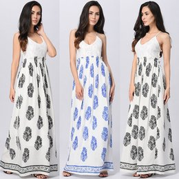 2018 Summer Vintage Floral Print Maxi Dress Women Casual Sleeveless Dresses V Neck Lace Backless Elegant Party Long Bench Sundress Vestido