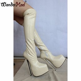 Wonderheel 23cm heel patent Knee High boots Extreme High heel Sex thin heel platform women boots fashion show boots