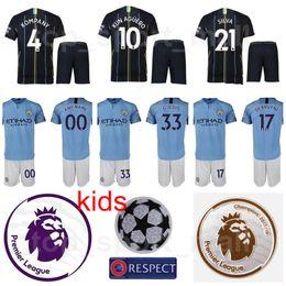 Youth Manchester City Jersey Man Set Soccer Kids Blue Premier League JESUS KOMPANY KUN AGUERO DE BRUYNE SILVA Football Shirt Kits Uniform