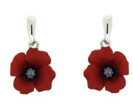 White Gold Tone Red Enamel Flower Poppy Earrings UK British Legion Jewellery Remembrance Day Gifts Souvenir