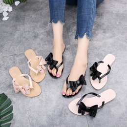 .Color block summer bow flat slippers flip plastic jelly flip flops sandals Casual Beach Flat Nurse Jelly Shoes