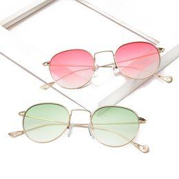 New Women's European And American Fashion Lightweight Sunglasses Metal Reflective Flat Lens Retro Metal Sunglasses