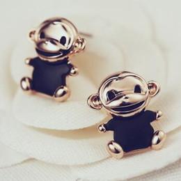 Hot sale Cute Animal Monkey Shape Stud Earrings for Women   Girl's Jewelry Accessories 14K Rose Gold Plated