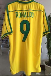A+++ Retro jersey soccer jerseys Brazil 1998 World cup Brasil Ronaldo  Rivaldo   R. Carlos football Jerseys shirt free shipping