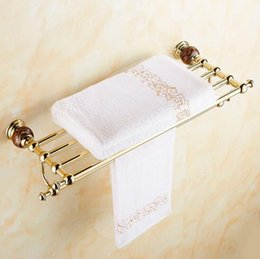 Wholesale And Retail Wall Mounted Golden Brass Bathroom Towel Bars Towel Rack Holder With Crystal Hangers