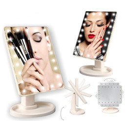 EPACK 360 Degree Rotation Touch Screen Make Up Mirror Cosmetic Folding Portable Compact Pocket With 16 22 LED Lights Makeup Tool