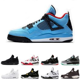 New 4 4s Basketball Shoes Cactus Jack Raptors Pure Money Royalty Bred Military Blue Fire Red bred mens trainers Sports Sneakers size 8-13