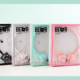 Wholesale Cartoon Bear Ears Headset for Children Glow Collapsible Mobile Phone Music Headphones Cute Earphone with Retail Package Kids Gift