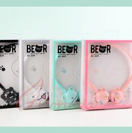 Orejas de oso de dibujos animados al por mayor de dibujos animados para niños brillan plegable auriculares de música del teléfono móvil auricular lindo con paquete al por menor regalo de los niños