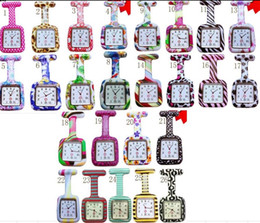 Wholesale 200pcs lot 26colors Square Colorful Prints Silicone Nurse watch Pocket Watches Doctor Fob Quartz Watch Kids Gift Watches NW015
