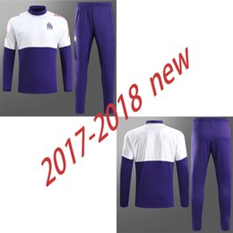 2017-2018 new Marseille S-3XL Tracksuit Soccer Coat Pants Sports Training 17 18 Suit Men Adults Football Track Suit