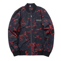 2018 New High Quality outwear Men's Bomber Jackets Wholesale Long Sleeve Red Printed Field Coats Europe Size Man Clothing 3XL plus size