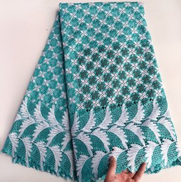 Aqua Silver 5 Yards Big Heavy African Guipure Lace fabric African cord Lace Fabric High Quality 0233
