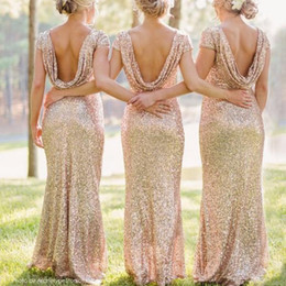 2018 New Trends Shinning Backless Sequined Formal Long Party Prom Bridesmaid Dress Gown Golden Color Floor Length