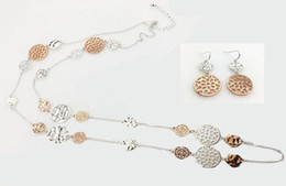 EARRING A NECKLACE PER SET TWO TONE PLATING COLORS METAL STYLE WAVE AND FILIGREE METALS LONG NECKLACE SILVER AND ROSE GOLD MIXED