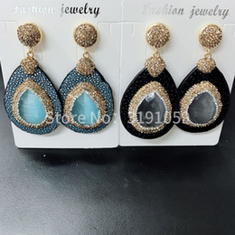 Natural opal drop earrings for European and American fashion and luxury accessories