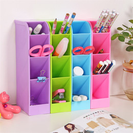 1PC Multi-function Plastic PP Desktop Storage Box Case 4 Grid Sub-grid Make up Cosmetic Holder Desk Pen Pencil Organizer free shipping 2018