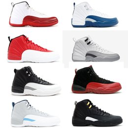 12s Cherry Gym red Men Basketball Shoes sneakers Good Quality 12s Discount Sports mens Leather trainers white grey Barons