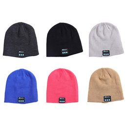 New Bluetooth music hats Soft Warm Beanie Cap with Stereo Headphone Headset Speaker Wireless Microphone Knitted hat 6 colors C477