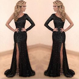 Black Sparkly Sequined Mermaid Prom Dresses 2019 Custom Made One Shoulder Long Evening Party Dress Sexy Side Slit robe de soiree
