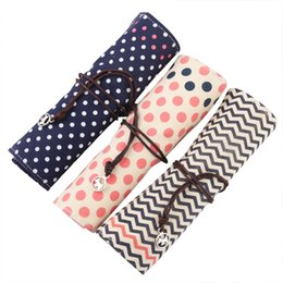 Wave point of the shutter pencil case Canvas 24*19cm stationery phone bag Office and school supplies multifunction pencil bag