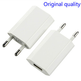 100pcs lot Original quality EU Wall Charger USB Plug 5V 1A AC White Micro USB Power Adapter For Iphone X 8 7 5 6 Samsung charger with logo
