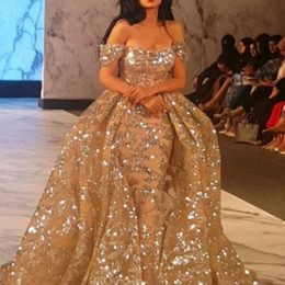 Dubai Golden Mermaid Prom Dresses With Overskirt Sparkly Sequins Beads Off Shoulder Celebrity Party Dress Gorgeous Saudi Arabia Evening Dres