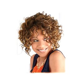 Kinky Curly Wigs for Sexy Lady Short Curly Wigs Heat Resistant Synthetic Costume Party Hair Natural Brown & Blonde Female Wig