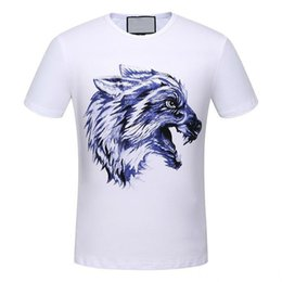 2018 summer new high-end men's brand t-shirt fashion short sleeve Wolf flowers printing fashion t shirt Men's Tops Tees