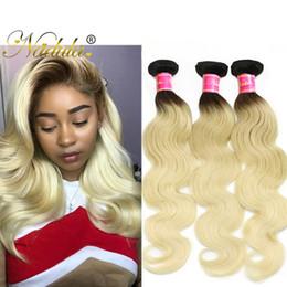 Nadula Brazilian Body Wave Hair Weaves Ombre Human Hair Bundles T1B613 Blonde Hair Extensions 3Bundles Cheap Remy Human Wefts Wholesale