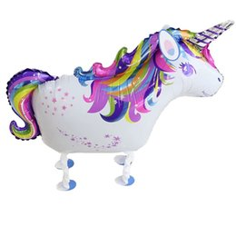 Walk Unicorn Foil Balloons Children's Inflatable Toys Air Globos Birthday Party Decorations Kids Wedding Unicorn Party Supplies