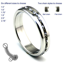 Stainless steel Cock Ring with lace chain penis scrotum bangdage ring ejection delay for men sex toy