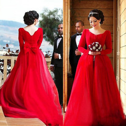 Charming Red A-line Wedding Dresses Scoop Neck Long Sleeves Tulle Skirt Custom Colored Bridal Gowns with Back Bow and Train