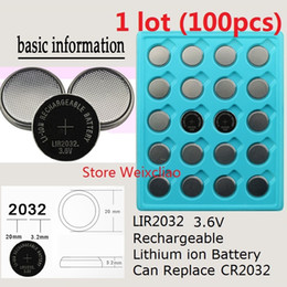 100pcs 1 lot LIR2032 3.6V Lithium li ion rechargeable button cell battery 2032 3.6 Volt li-ion coin batteries replace CR2032 Free Shipping