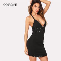 49cb57fad7 COLROVIE Plunging Neck Beaded Trim Form Fitting Cami Party Dress 2018 Black  Sleeveless Bodycon Dress Deep V Neck Women