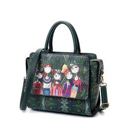 Women Bag Patchwork Forest Girl Green Flap Bag Designer Leather Fashion Messenger Bags Ladies Single Shoulder Bag