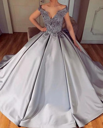 Silver Elegant Satin A Line Off Shoulders Prom Dresses Lace Beaded Top Long Prom Evening Gowns Pageant Dresses