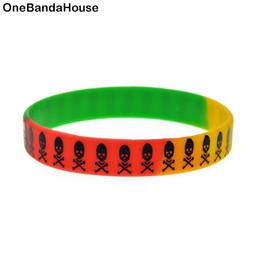 Wholesale 100PCS Lot Printed Logo Wristband The Skull Silicone Bracelet Hip Hop Band Punk Style Adult Size