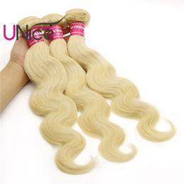 UNice Hair Virgin Brazilian 3 Bundles 613 Blonde Body Wave Hair Wholesale 100% Human Hair Extensions Indian Peruvian Nice Bulk Wet And Wavy