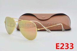 High Quality Mens Womens Designer Sunglasses Pilot Sun Glasses Gold Colorful Flash Pink Mirror Glass 58mm 62mm Lenses Better Brown Cases