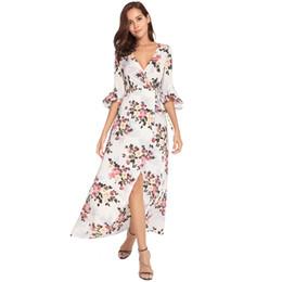 Boho Girls Floral Print Flare Sleeve Maxi Dress Boho Half Sleeve Ruffles Women Beach Dresses Sexy Deep V Belt Party Summer Dress DK5554HY